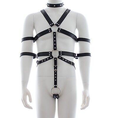 Herren PU Leder Harness Verstellbar Full Body Riemenbody Lederriemen Bondageset 4