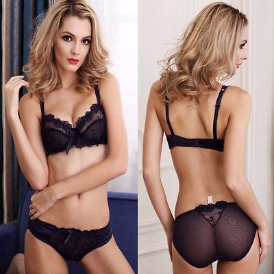8c81220ac2 ... UK See-through Floral Thin Bra sets Ladies Sheer Lace Underwear 32-42 A  B C D
