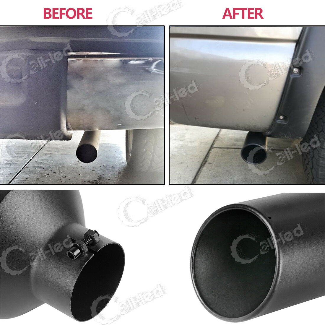 Chrome-Plated Finish Stainless Steel Material And a 3 1//2 Inch Inlet 12 Inch Long Autosaver88 3.5 Inch Inlet With a Turn Down Exhaust Tip Bolt-On Installation Design.