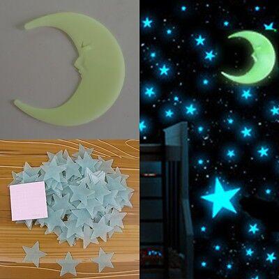 100pcs Stars 1 Moon 3D DIY Glow in the Dark Bedroom Wall Art Stickers Decor