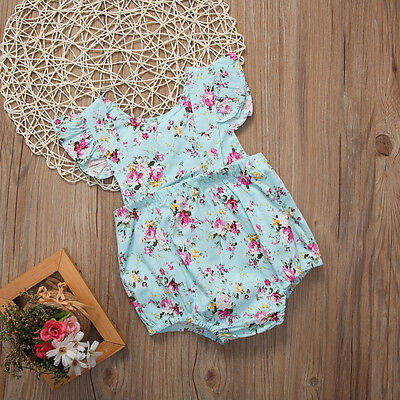Newborn Baby Girl Flower Ruffle Romper Bodysuit Jumpsuit Outfit Clothes 0-18M 3