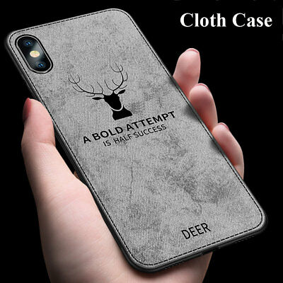 Hybrid Soft TPU Fabric Case Shockproof Cover for iPhone XS MAX/XR X 6s 7 8 Plus 5