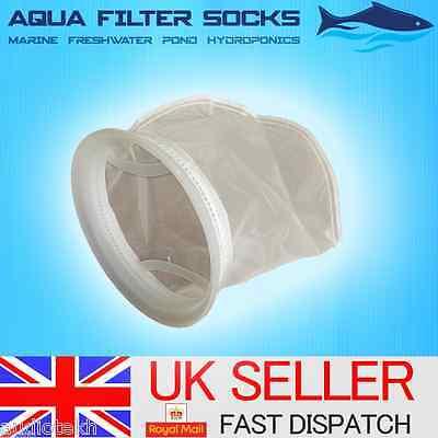 "50/100/200 Micron 7"" Ring, 15"" Long Nylon Mesh Filter Sock Aquarium Marine Sump 2"