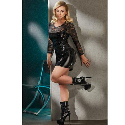 """Black Level Lack Kleid S M L XL 2XL Spitze Partykleid Minikleid Zip Erotik """"Luh"""" 3"""