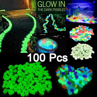 New 100x Glow In The Dark Stones Pebbles Rock Fish Tank Aquarium Garden Walkway 4