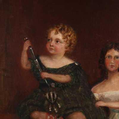 BEAUTIFUL Original Antique 19th C Antique Portrait Painting of Two Girls, c 1840 3