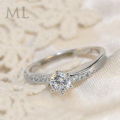 Womens Delicate 3/4 CT Promise Engagement RING For Her Silver Plated SIZE 4-10 3