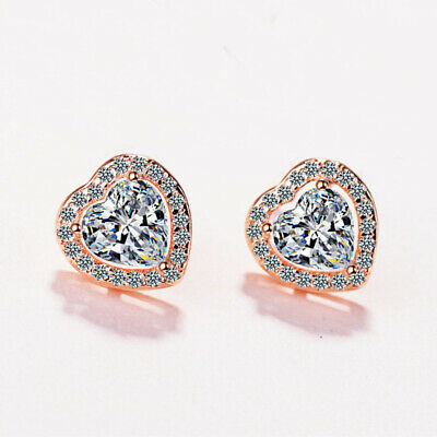 Heart Crystal Stone Stud Earrings 925 Sterling Silver Womens Girl Jewellery Gift 5