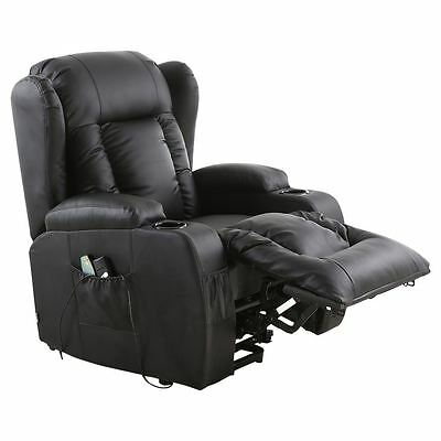 3 Of 9 Caesar Electric Rise Recliner Winged Leather Armchair Massage Heated  Chair
