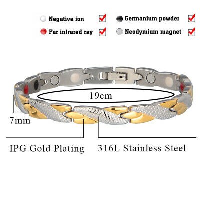 4Elements Titanium Steel Magnetic Far Therapy Negative Ions Bracelet Pain Relief 9