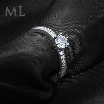 Womens Delicate 3/4 CT Promise Engagement RING For Her Silver Plated SIZE 4-10 4