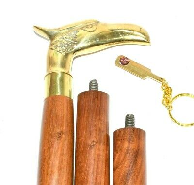 Eagle Head Handle Solid Brass Vintage Style Victorian Wooden Walking Stick Cane 9