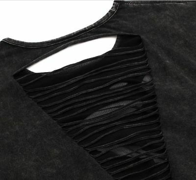 Rock Punk Gothic T Shirt Top Emo Biker Cut Out Ripped Torn Holes Grunge Loose