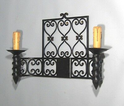 "Large Vintage French Wrought Iron Sconce, ""Chateau"" Style, 19 x 13 inches 3"