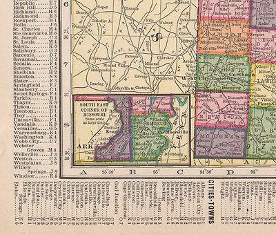 1909 MAP ~ Missouri State Ark Kansas City Counties Cities-Towns ...