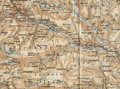 1909 Original Antique Map Of Ottadalen Gudbrandsdalen Valley / Oppland / Norway 3