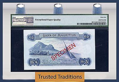 """Tt Pk 30Cs1 1978 Mauritius 5 Rupees """"coll Series Specimen"""" Pmg 66 Epq"""