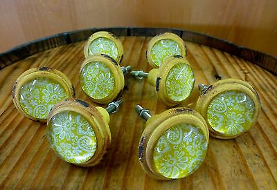8 YELLOW-WHITE LACE GLASS DRAWER CABINET PULLS KNOBS VINTAGE DISTRESSED hardware 3