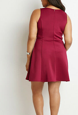 Forever 21 Plus Size Magenta Scuba Knit Fit /& Flare Dress 2X