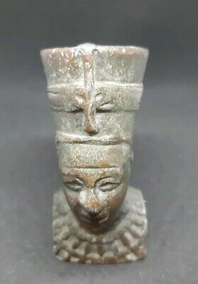 Vintage Egypt Metal Pharaoh Figure Head Statue Egyptian Art Carved  Weight 158 g 2