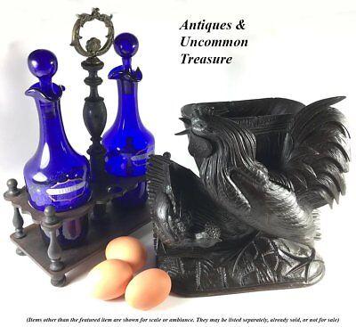 Antique French Enameled Cobalt Blue Glass Oil, Vinegar, in Original Wood Stand 9