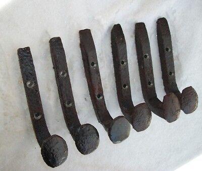 6 Antique Horse Tack Hooks Coat Or Hat Rack Railroad Spikes Stable Barn Hanger 6