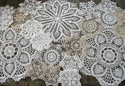 """lot of 21p  Hand Crochet Doilies 5""""-7""""-15"""" Wht & Natur VTG Wedding Tea Party NEW"""