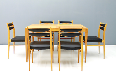 60er Years Dining Area Table & 6 Chairs Cherry & Leather Table Dining Room 60s 10