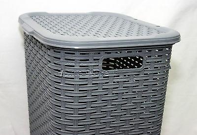 e7d396fb1d6 ... 60L Woven Style Rattan Plastic Laundry Basket Bathroom Bin Storage Tidy  Box Grey 5