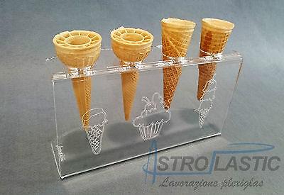 Espositore in plexiglass da banco girevole porta coni gelato 4 tubi