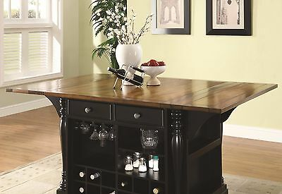 ELEGANT BLACK KITCHEN Island Cart Dining Table Kitchen ...