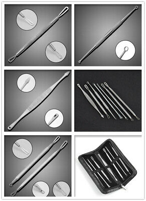 Blackhead Extractor Tool Remover Pimple Blemish Comedone Kit Skin Care Acne Clip 10