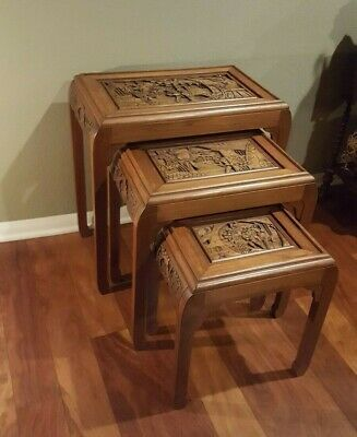 Antique Carved Rosewood Asian Nesting / Stacking Tables Set of Three 5