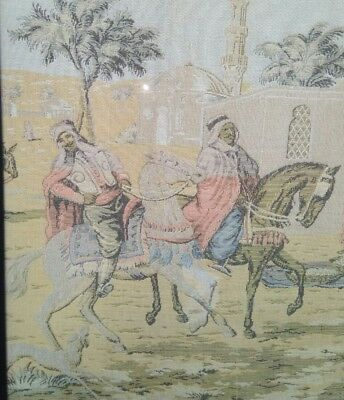 Antique Ottoman Era depiction of Horse Riding Merchants town  tapestry . 5