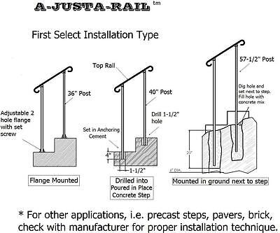 "24""  A-Justa-Rail for drilling into concrete Iron stair Railing step grab Steel 3"