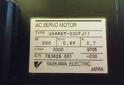 Yaskawa Electric Ac Servo Motor Type: Usarem-03Cf J11, 300W Made In Japan