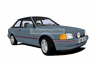 FORD ESCORT XR3i MK4 GRAPHIC CAR ART PRINT PERSONALISE IT!