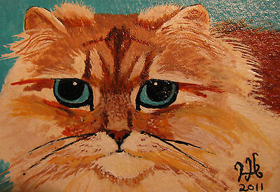 """A669    Original Acrylic Aceo Painting By Ljh        """"Joey""""  Cat  Kitten 4"""