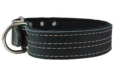 "Doberman 1.5/"" Wide Padded Fits 14/""-18/"" Neck Size Genuine Leather Dog Collar"