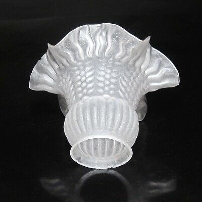 Vintage French Frosted Glass Lamp Ceiling Shade, Ruffled Edges 3