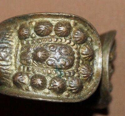 Antique Greek Orthodox medieval bronze fertility crusader bracelet 5
