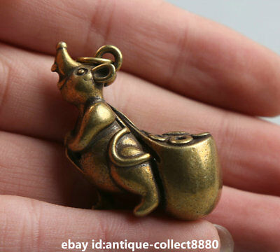 """1.3""""Curio Chinese Bronze Zodiac Animal Lucky Mouse Moneybag Wealth Small Pendant 6"""
