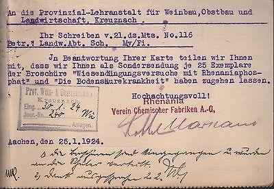 AACHEN, Postkarte 1924, RHENANIA Verein Chemischer Fabriken AG 2