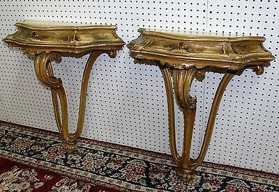 Antique Pair Carved Hand Painted Country French Wall Consoles Louis XV C1890 7