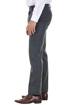 Men's Flat Front Smart Formal Pants Office Supercrease Tailored Fit Trousers 3