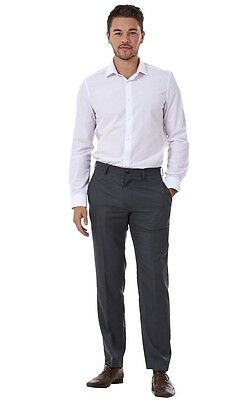 Men's Flat Front Smart Formal Pants Office Supercrease Tailored Fit Trousers 5