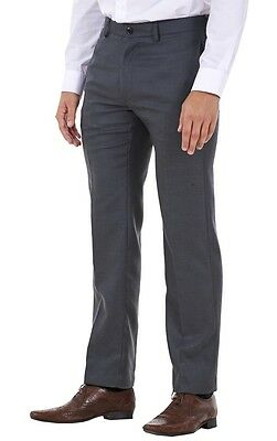 Men's Flat Front Smart Formal Pants Office Supercrease Tailored Fit Trousers 2