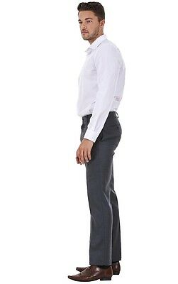 Men's Flat Front Smart Formal Pants Office Supercrease Tailored Fit Trousers 6
