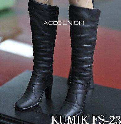 "KUMIK 1//6 Black Widow Catwoman HOLLOW Black Long Boots For 12/"" Female Figure"