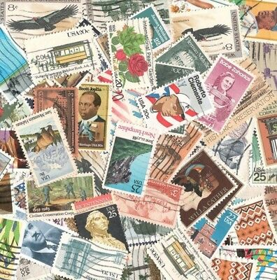 Vintage Mixed Lot Of 60-65 Used US Postage Stamps In Glassine Envelope 2